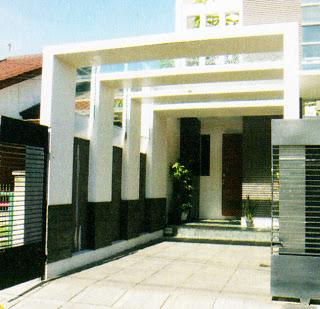 konsep rumah modern minimalis dengan carport kaca beton